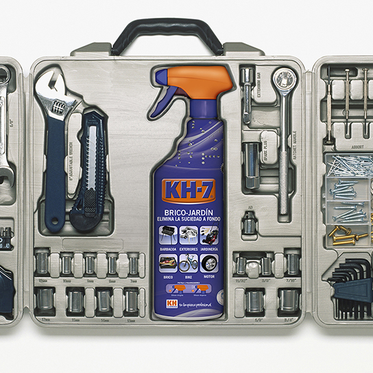Large selection of work tools in open toolbox.